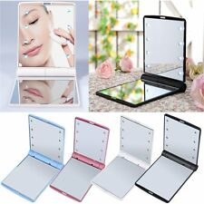 LED Make Up Mirror Cosmetic Mirror Folding Portable Compact Pocket Gift GV