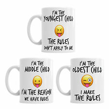 Youngest Middle Oldest Child Sister Brother Rules Funny Coffee Mug Tea Cup Gift
