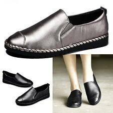 New Women Leather Shoes Shallow Slip On Flats Anti-slip Loafers Soft Moccasins