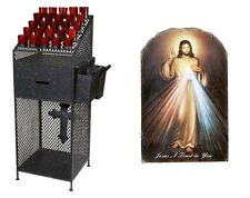 Catholic Church Wrought Iron Devotional Votive Candle Stand with Divine Mercy