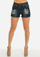 Super High Waisted Dark Denim Distressed One Button Shorts  10804U
