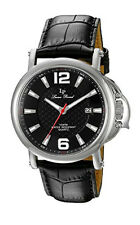 Lucien Piccard Men's 'Triomf' Quartz Stainless Steel and Black Leather