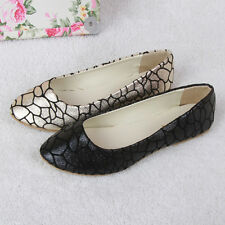 Fashion Womens Ballet Flats Ballerina Crazing Casual Slip On Shoes Faux Leather
