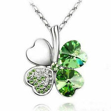 Lucky Crystal Four Leaf Clover Heart Pendant Necklace irish shamrock charm chain