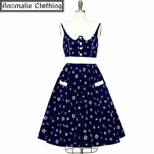 Lady Mayra Navy & White Nautical Print Lucy Swing Dress - Retro Rockabilly Pinup