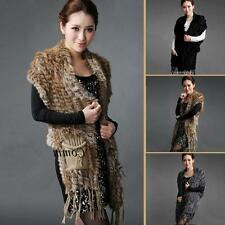 Lady Real Knitted Rabbit Fur Scarf Shawl Cape Magic Cheap Wrap Stole Poncho Coat