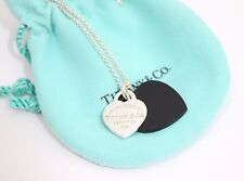 Tiffany & Co. Sterling Silver Return To Tiffany Double Heart Black Onyx Necklace