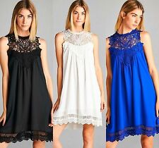 Boho White Black Royal Sleeveless Crochet Lace High Neck Flowy Swing Dress S-L