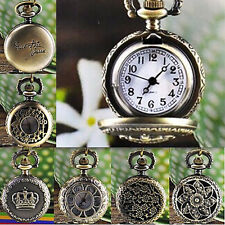 Women Vintage Retro Bronze Quartz Pocket Dress Watch Pendant Chain Necklace