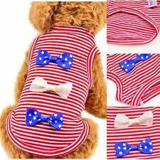 Pet Puppy Bow Summer Shirts Clothes Dog Cat Striped Vest T Shirt Apparel Tops