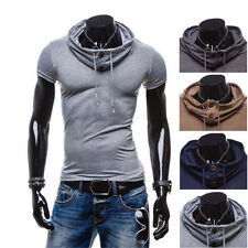 1Pcs Polo Hoodie Leisure T-Shirt V Neck Tops Muscle Short Sleeve Mens Casual