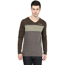Avoir Envie Mens Casual Breathable Cotton Top Slub Striped Long Sleeves T Shirt