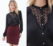 NWT Forever 21 Love 21 Silky Lace Front Buttoned Top Shirt Blouse sz XS