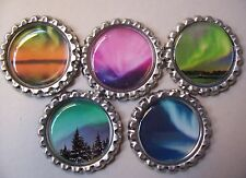 5 Aurora Borealis (Northern Lights) Bottle Cap Magnets-2 Styles-Set 1
