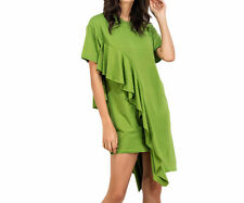 Women Green Ruffle Trim Mini Shift Tee Dresses Casual O Neck Beach Dress