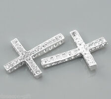 Wholesale Lots HX Silver Plated Clear Rhinestone Cross Connectors 36x25mm