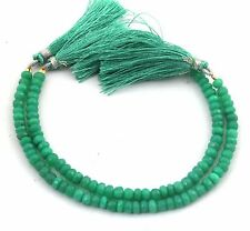 2 Strands Green Chalcedony Dyed Faceted Rondelles-INCH-8 PB-17