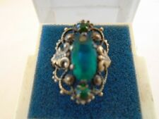 Very Vntage Ornate Czech Ring 3 Green Faceted Stones Brass Tone Setting c.1920s
