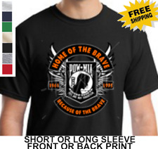 POW MIA  Military Home of the Brave Because of Brave New Mens Cotton T-Shirt