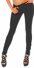 BUSINESS TROUSERS IN BLACK STRAIGHT LEG ZIPPER ON SIDE STRETCH 8702