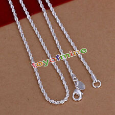 925 Sterling Silver Filled Twisted Rope Classic 4mm Solid Charm Necklace Chain