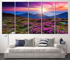 5 Panel Forest with Sunset Wall Art Canvas Print, Blue Hills Print on Canvas Art