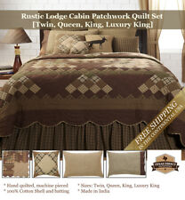 Rustic Lodge Cabin Quilt Set [Twin, Queen, King, Lux King] + Deer Accent Pillow