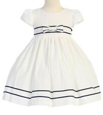 Girls Easter Dress White & Navy Blue Seersucker Dress NWT Lito 4T & 5