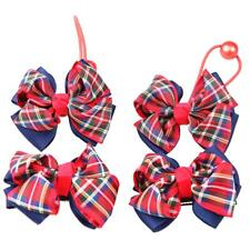 4x Plaid Girls Ribbon Bow Hair Clip Barrette Elastic Hairband Hair Ties #1/#2/#3