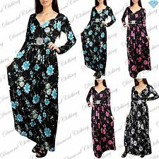 Ladies V Neck Front Tie Knot Twisted Floral Womens Silver Buckle Maxi Dress