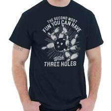 Fun With Three Holes Humorous Pun Bowling Graphic Funny Quote T-Shirt Tee