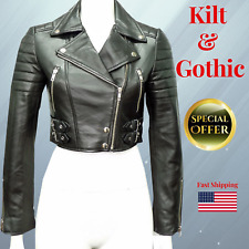 Biker Gothic Punk Nappa Leather Jacket Missy Ladies Women's Black Short Cropped