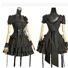 Lolita Gothic Punk Womens Black Short Sleeve Layered Cosplay Dress stage Skirt