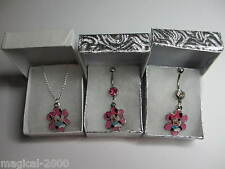 Walt Disney World Minnie Mouse Flower Pendant Belly Bar / Necklace or Gift Set