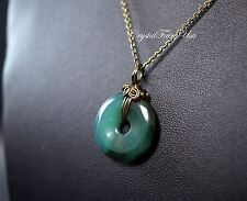 Tiny Agate Necklace - Green Agate Donuts Necklace - Bronze Stone Flower Pendant