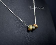 Unakite Necklace Sterling Silver || Tiny Rondelle Green Unakite Jewelry Green St
