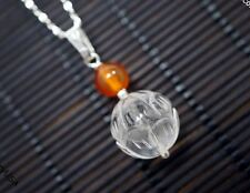 Engraved Lotus Necklace - Clear Quartz Flower Pendant - Crystal Healing