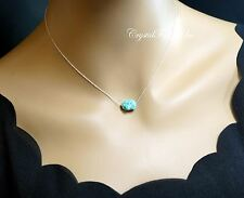 Turquoise Necklace Sterling Silver Simple Turquoise Nugget Choker Turquoise Jewe
