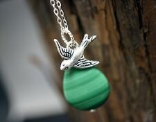Genuine Green Malachite Necklace - Swallow Bird Necklace - 925 Genuine Malachite