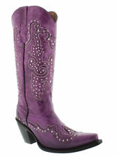 Womens Purple Tall Studded Leather Western Cowboy Cowgirl Rodeo Riding Boot