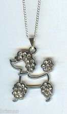 POODLE DOG, Clear Crystals Charm Pendant & .925 Silver Necklace - P649