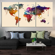 World Map Art Canvas Print - Watercolor World Map Canvas Print - Triptych Art