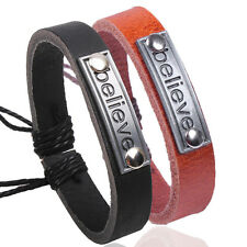 "Punk Unisex ""Believe"" Wrist String Band Hemp Leather Cuff Wrap Silver Bracelet"