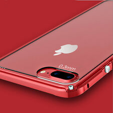 Hybrid Aluminum Metal Bumper Clear Crystal Back Case Cover for iPhone 7 6s Plus