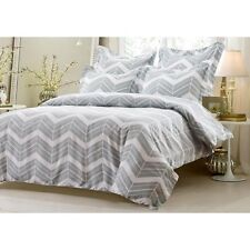 King / CKing Full / Queen Grey White Chevron Duvet Set 5 Piece Cover 4 Shams