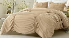 King / CKing Full / Queen Twin / TL Ruched Khaki Duvet Cover 3-4 Piece Set Shams