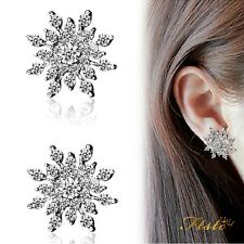 Silver Rhinestone Gem Crystal Snowflake Flower Stud Earrings Gift Valentines UK