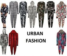 New Womens Ladies Viscose Print Jumpsuit One Pcs Hooded Front Zip Up Playsuit UK