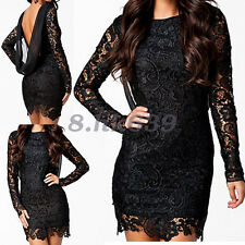 Womens Lace Bodycon Backless Mini Dress Long Sleeve Lady Party Evening Minidress