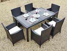 Garden Dining Set Rattan Glass Table 4 - 6 Chairs Outdoor Patio Seater Furniture